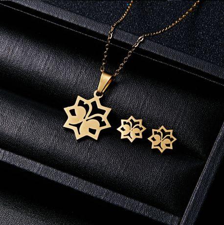 BUTTERFLY - Złoty Komplet Biżuterii Naszyjnik + Kolczyki