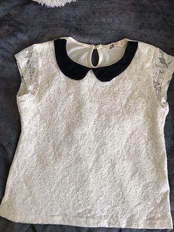 dziecięca biała bluzka z koronka