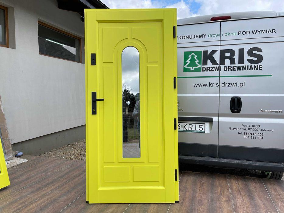 Drzwi zewnętrzne drewniane ocieplane żółte 1016 DOSTAWA CAŁA POLSKA Grzybno - image 1