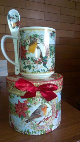 Фарфоровая чашка с ложечкой новая Турция English home