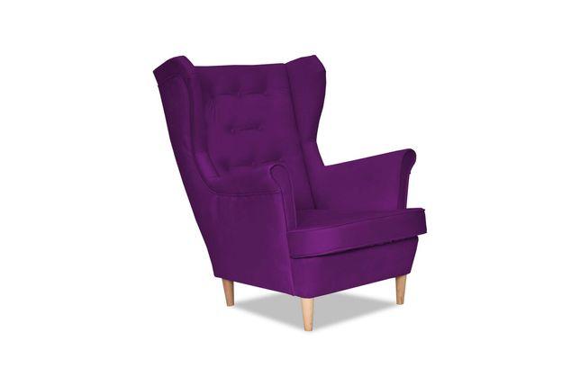 Fotel Uszak Diana fioletowy fiołkowy siłownia fitnes  hol w galerii