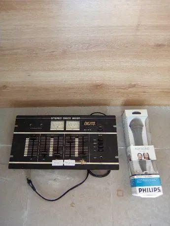 Mesa de mistura + microfone PHILIPS novo