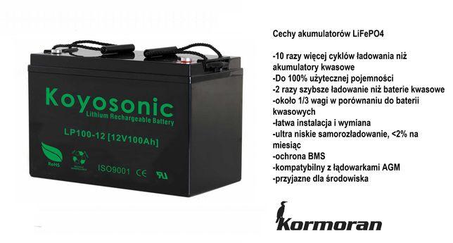 Akumulator Koyosonic LiFePo4 100Ah 12V do silnik haswing minn kota