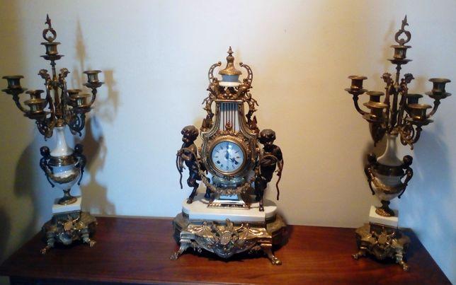 Garniture Bronze Alabastro Francês Séc XIX