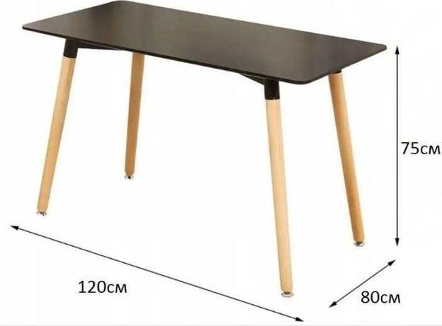 Обеденный стол в скандинавском стиле, чёрный и белый 80х80 и - новые