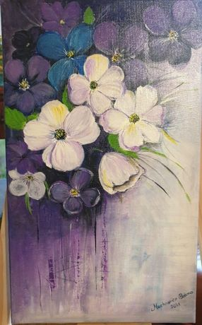 """Obraz """"fioletowe kwiaty"""" akryl 30x50"""