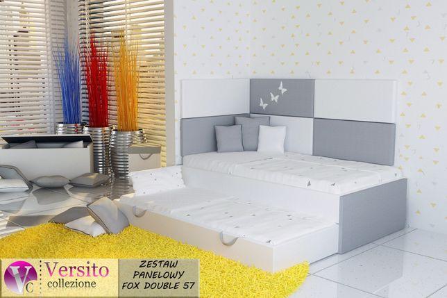 Panele tapicerowane+łóżko piętrowe-wysuwane dla dzieci+materace 10cm