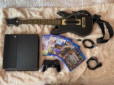PS4 + comando + GTA V + Guitar Hero e acessórios + oferta de 3 jogos