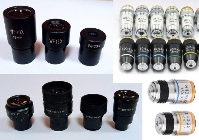 Окуляры и объективы для микроскопа 4х 10х 15х 20х 40х объектив окуляр