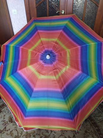 Красивый пляжный зонт , зонт для отдыха пикника в чехле , диаметр 2 м.