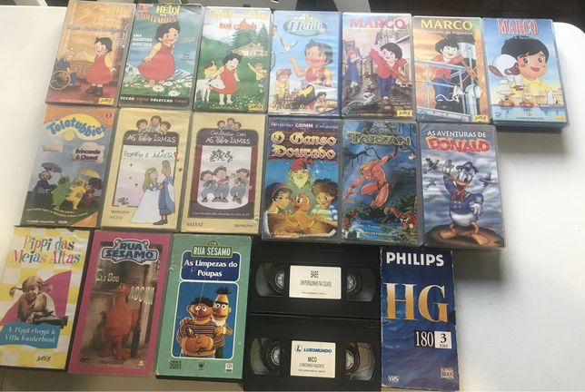 Cassetes VHS desenhos animados