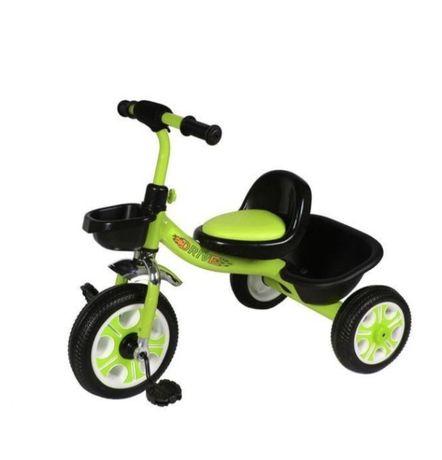 Детский трёхколёсный велосипед ЗЕЛЁНЫЙ, корзинка на руле