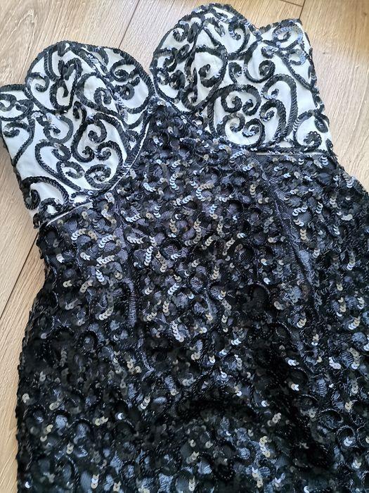 Sukienka biała czarna cekiny koraliki USA xs Lublin - image 1