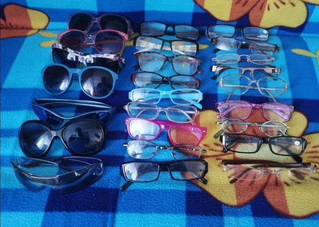 Duży zestaw okularów i szkieł powiększających dla starszej osoby BDB