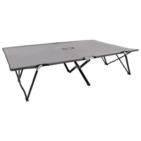 vidaXL Espreguiçadeira/cama dobrável para 2 pessoas aço cinzento 47762