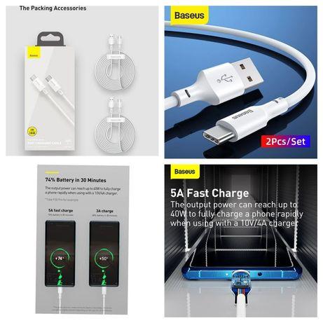 Kit de cabos dados USB para Type C/ 1,5 m-Carreg. Rápido-Baseus- 24h