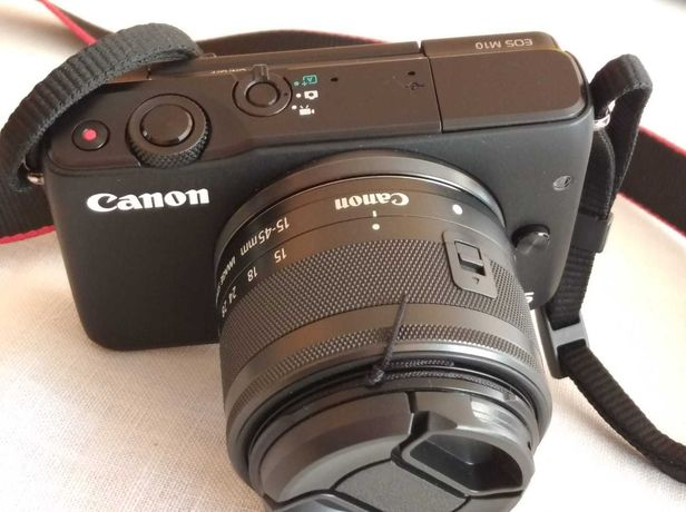 Canon EOS M10, obiektyw 15-45mm , adapter EF