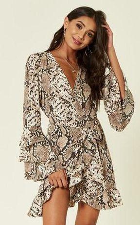 Платье мини новое шикарное на запах в питоновый принт uk 12/40/m