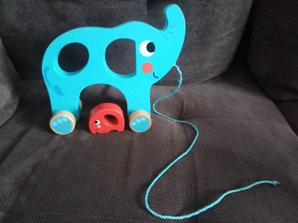 Zabawka duzy słon drewniany na sznurku + bobas słoniątko