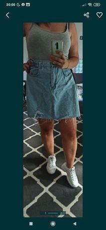Spódnica Jeansowa strzępiona40 42 44 diy