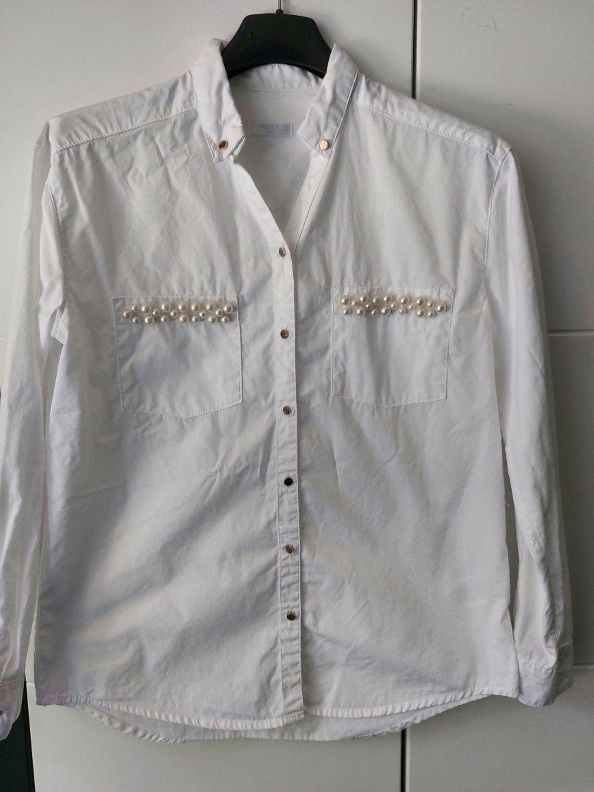 Śliczna koszula bluzka biała zakończenie roku perełki złote guziki 146