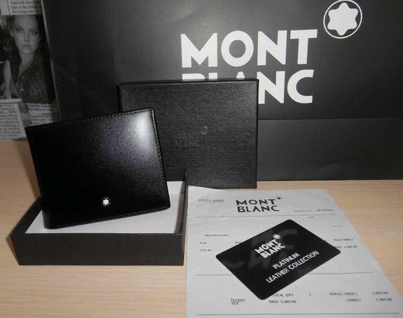 Оryginalny markowy czarny PORTFEL MĘSKI Mont Blanc, skóra,Niemcy 69-09