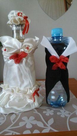 Ubranka na butelkę. Ślub. Wesele.