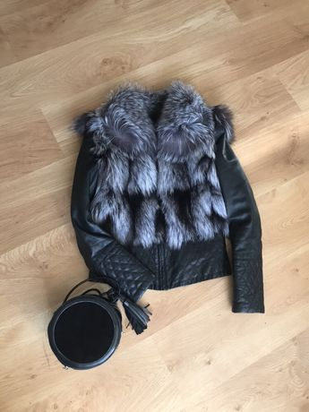 Кожаная Куртка трансформер чернобурка 36 S!