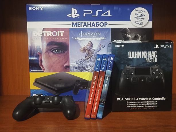 Sony Playstation 4 Slim 1ТБ Идеал, Комплект , Геймпад Одни из нас 2