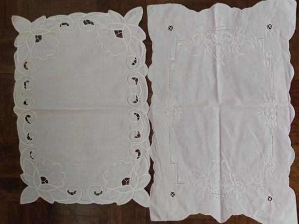 Conjunto de 2 panos bordados branco