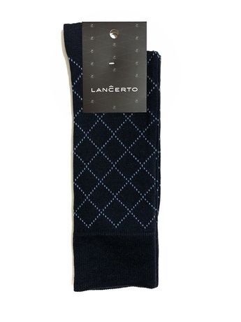 Skarpety Lancerto ciemny granat w niebieską kratkę