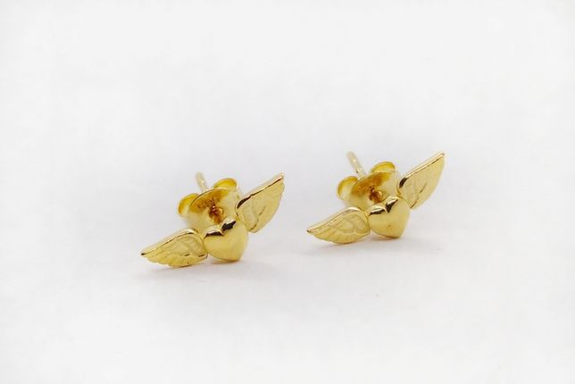 Kolczyki złote 585 serduszka ze skrzydełkami Kod: KL6806