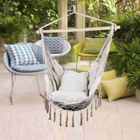 Fotel wiszący krzesło brazylijskie hamak huśtawka poduszki gratis