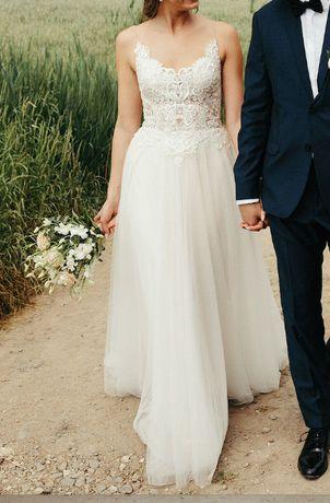 Justin Alexander 1142 sand nude ivory 2019 38 M Piękna suknia ślubna w
