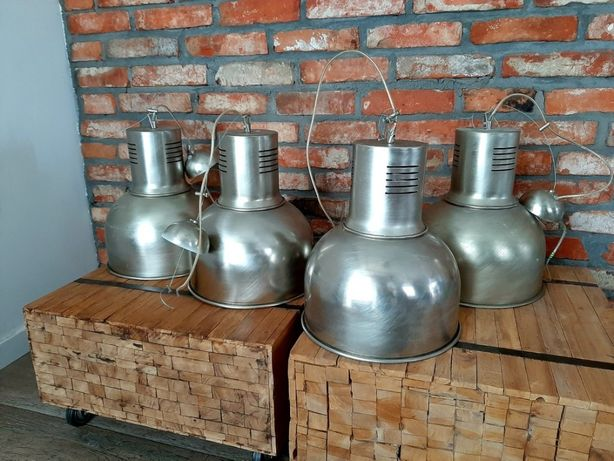 Lampa sufitowa wisząca loft industrial srebrna