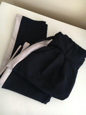 Spodnie chinosy granatowe z lampasami, luźne rozm.36 S