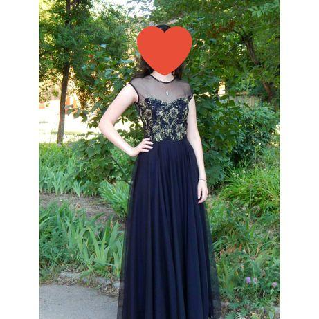 Платье выпускное, длинное, черное, фатиновая юбка, в пол