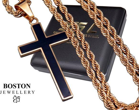 Złoty Łańcuszek + Krzyżyk STAL CHIRURGICZNA 316L Zestaw Na Prezent