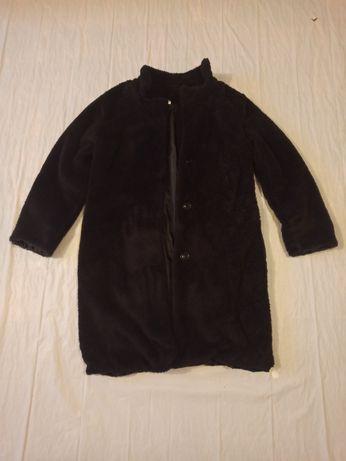 Пальто шубка из искусственного меха черная полушубок
