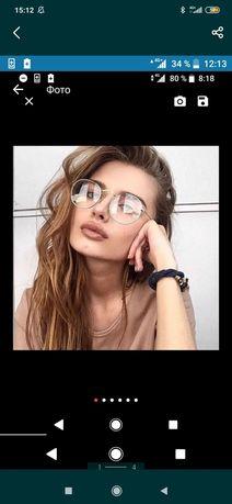 Имиджевые очки серебро золото прозрачные