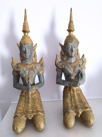 estátuas budistas tailandesas em bronze