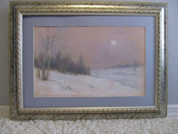 """Горобец П.М. (1905) """"Зимний вечер"""", б/п, 68*47 см"""