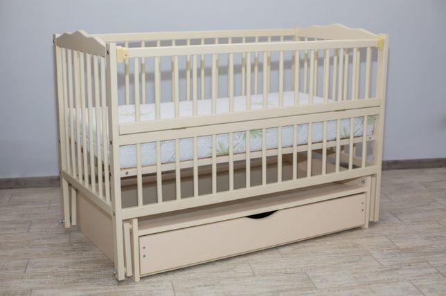 Детская кроватка для новорожденного слоновая кость с ящиком