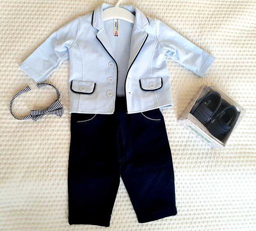 Coccodrillo - ubranko do chrztu dla chłopca + buciki roz 62