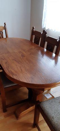 Stół debowy z krzesłami