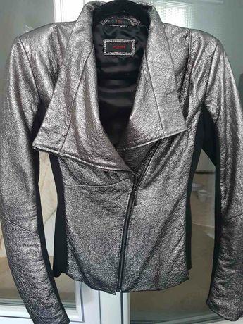 Кожаная куртка металлик