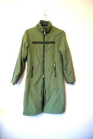 dluga zielona khaki kurtka jesienna zimowa 38M z kapturem lampasem 36S