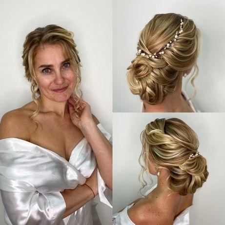 Свадебные и вечерние прически, на выпускной, локоны, плетение кос