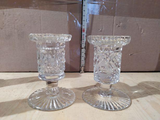 2 świeczniki krysztalowe