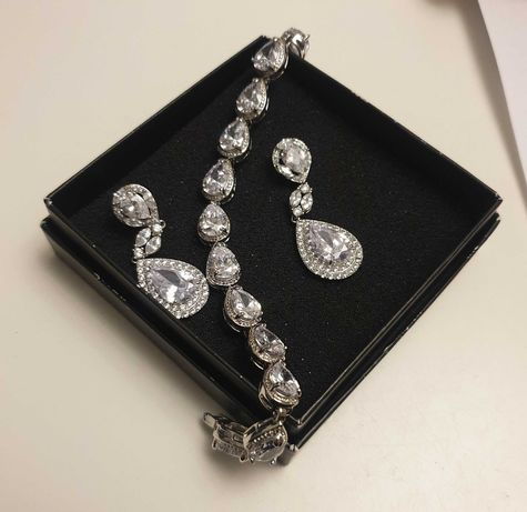 Biżuteria ślubna - kolczyki + bransoletka - Novia Blanca